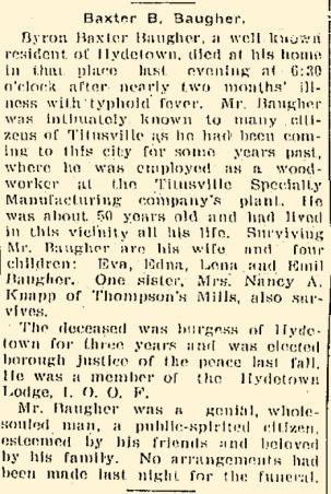 Baugher Obituary